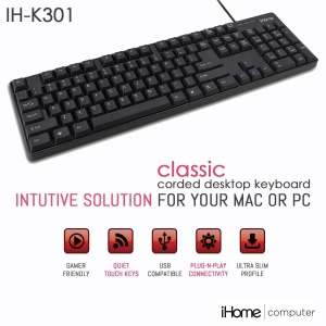 iHome Classic Corded Quiet Touch Slim Full Size USB Desktop Keyboard