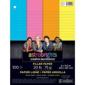 Neenah Astrobrights Wide Ruled Filler Paper 100 Sheets